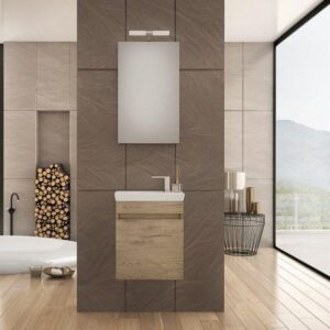 Drop Luxus 45 Wood & Granite Κρεμαστό Έπιπλο Μπάνιου με Νιπτήρα 45x28 cm