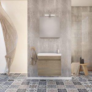Drop Luxus 60 Wood & Granite Κρεμαστό Έπιπλο Μπάνιου με Νιπτήρα 60x34 cm