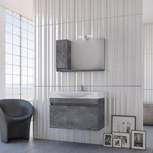 Drop Senso 85 Wood & Granite Κρεμαστό Έπιπλο Μπάνιου με Νιπτήρα 85*50 cm