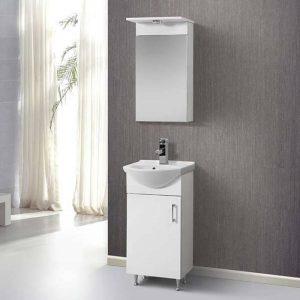 Helen MDF Λευκό Μικρό Έπιπλο Μπάνιου Δαπέδου με Νιπτήρα + Καθρέπτη 45χ38