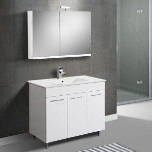 Apia Σετ Λευκό MDF Έπιπλο Μπάνιου με Νιπτήρα + Καθρέφτη 90 100