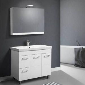 Λύρα Μοντέρνο Λευκό MDF Σετ Έπιπλο Μπάνιου με Συρτάρια & Ντουλάπι 100χ49