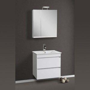 Καταρίνα Σετ MDF Λευκό Κρεμαστό Έπιπλο Μπάνιου με 2 Συρτάρια