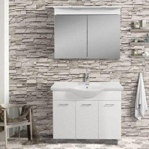 Helen MDF Λευκό Έπιπλο Μπάνιου Επιδαπέδιο Σετ με Καθρέφτη
