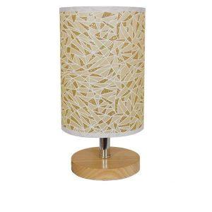 Mosaic 01262 Επιτραπέζιο Φωτιστικό Ξύλινο με Μπεζ Χρυσό Καπέλο
