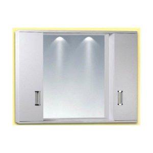 Καθρέφτης Μπάνιου FINO 2-PLUS Λευκός με 2 ντουλάπια & 2 φώτα PVC 78cm