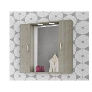 Drop Alba Brown 80 Καθρέφτης Μπάνιου με 2 Ντουλάπια + Φωτισμό Led 78x75
