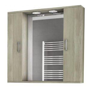 Drop Alba Elm Wood 80 Καθρέφτης Μπάνιου με 2 Ντουλάπια + Φωτισμό Led