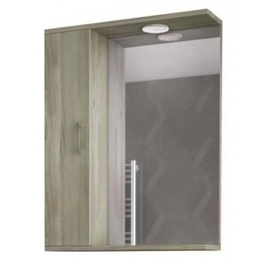 Drop Alba Elm Wood 65 Καθρέφτης Μπάνιου με Ντουλάπι και Φωτισμό Led 58χ75