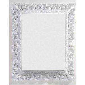 Retro Καθρέφτης Μπάνιου με Λευκή Σκαλιστή Κορνίζα PVC 87χ107