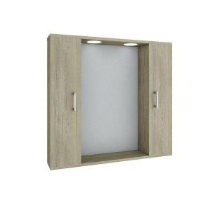 Drop Elm Wood Καθρέφτης Μπάνιου με 2 Ντουλάπια + Φωτισμό Led 75x15x57