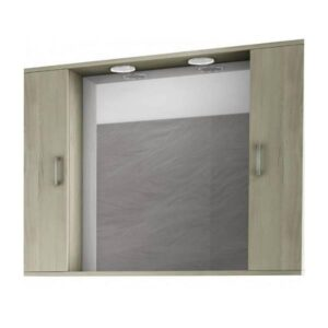 Drop Alba Elm Wood 100 Καθρέφτης Μπάνιου με 2 Ντουλάπια + Φωτισμό Led 98x75
