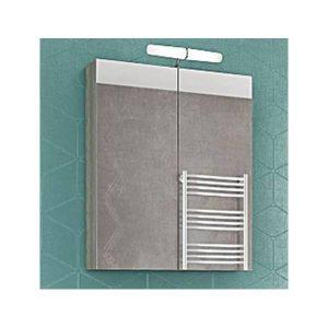 Drop Alba Brown 65 Καθρέφτης Μπάνιου με Κρυφό Ντουλάπι + 2 Πόρτες 57x68