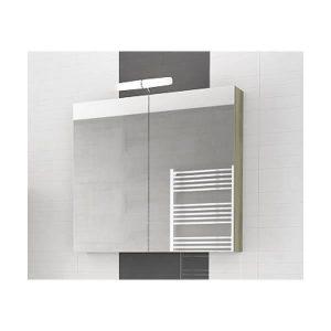 Drop Alba Elm Wood 80 Καθρέφτης Μπάνιου με Κρυφό Ντουλάπι 2 Πόρτες 77x68