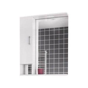 Drop Alba White 65 Καθρέφτης Μπάνιου με Ντουλάπι και Φωτισμό Led 58x75