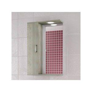 Drop Alba Brown 55 Καθρέφτης Μπάνιου με Ντουλάπι & Φωτισμό Led 48x75 cm
