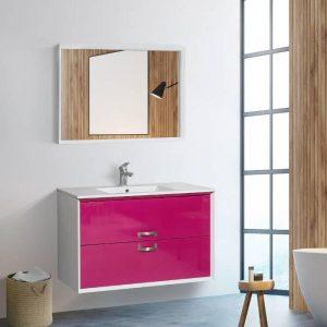 Κρεσπάνια MDF Άσπρο Ροζ Κρεμαστό Έπιπλο Μπάνιου με 2 Συρτάρια +2 Διαστάσεις
