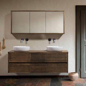 Nova Ρουστίκ Κρεμαστό Έπιπλο Μπάνιου με Καθρέφτη 150χ50