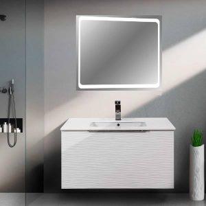 Ρόντα MDF Λευκό Κρεμαστό Έπιπλο Μπάνιου με Συρτάρι και Καθρέφτη LED 100χ52
