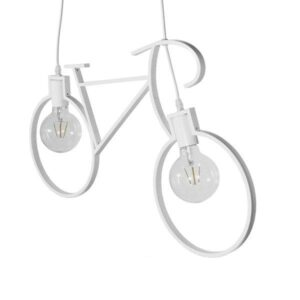 BIKE 01300 Industrial Κρεμαστό Φωτιστικό Δίφωτο Λευκό Στυλ Ποδήλατο
