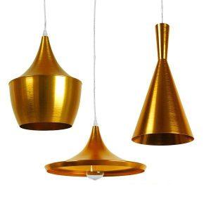 SHANGHAI 01660 Σετ 3 Τεμάχια Χρυσά Μοντέρνα Κρεμαστά Φωτιστικά