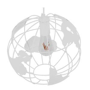 LAND 01382 Industrial Κυκλικό Κρεμαστό Φωτιστικό Λευκό Μεταλλικό Φ30 cm