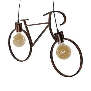 BIKE 01301 Vintage Κρεμαστό Φωτιστικό Δίφωτο Σκουριασμένο Καφέ Στυλ Ποδήλατο