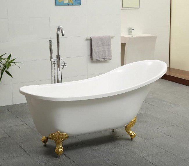 Retro Freestanding Bathtub With Gold Legs 163 70 Cm