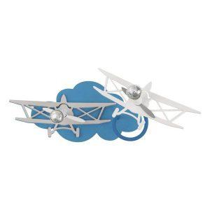 Planet 6903 Μοντέρνο Μπλε Δίφωτο Παιδικό Φωτιστικό Τοίχου με Αεροπλάνα