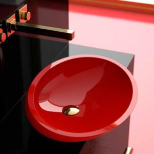 Countertop Washbasin Red Glossy Oval KOOL