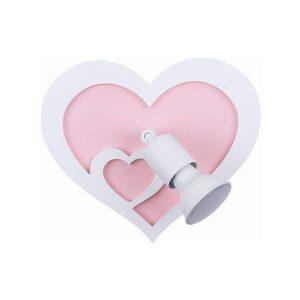 Heart 9062 Μοντέρνο Μονόφωτο Άσπρο Ροζ Παιδικό Φωτιστικό Τοίχου Καρδιά