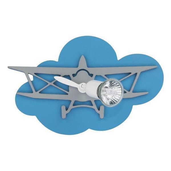Planet 6902 Μοντέρνο Παιδικό Φωτιστικό Τοίχου Μπλε Αεροπλάνο Μονόφωτο