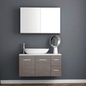 ΣΕΤ Έπιπλο Μπάνιου Solid Surface 100 2 Πόρτες 2 Συρτάρια σε 6 Αποχρώσεις