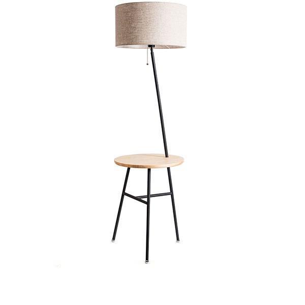 Zashine 01207 Ξύλινο Φωτιστικό Δαπέδου Μαύρο με Μπεζ Καπέλο
