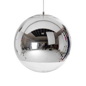 GLANS 01312 Μοντέρνο Χρωμέ Σφαιρικό Γυάλινο Φωτιστικό Κρεμαστό Ø30
