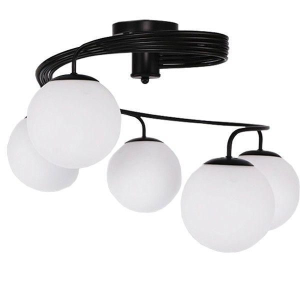 Selina 01090 Μαύρο Πολύφωτο Φωτιστικό Οροφής με Λευκό Γυαλί