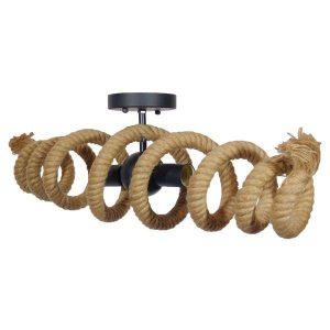 Spiral 01188 Vintage Μαύρο Φωτιστικό Οροφής Δίφωτο Μπεζ Σχοινί