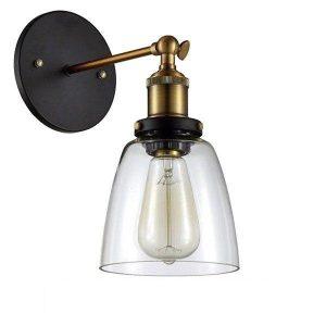 Lydia 01071 Vintage Φωτιστικό Τοίχου Μπρονζέ Χρυσό με Διάφανο Γυαλί Φ14