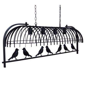 Nest 01255 Κρεμαστό Φωτιστικό με Πουλιά Μαύρο Industrial