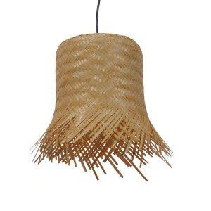 Leegar 01201 Vintage Κρεμαστό Φωτιστικό Ξύλινο Ραταν Καπέλο Φ28