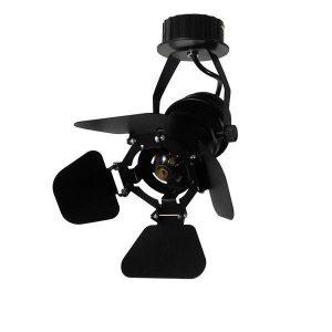 Chicago 01371 Industrial Μαύρο Μεταλλικό Φωτιστικό Οροφής + Τοίχου