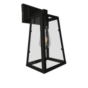 Asetylin 01032 Industrial Μεταλλικό Φωτιστικό Τοίχου Μαύρο με Γυαλί