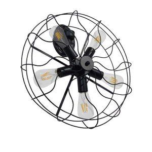 Fan 01163 Ανεμιστήρας Φωτιστικό Τοίχου Πολύφωτο Μαύρο Μεταλλικό