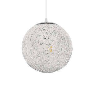 ICEBERG 01355 Vintage Κρεμαστό Φωτιστικό Ξύλινο Ψάθινο Ραταν Λευκό Ø20