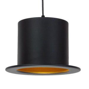 SHERLOCK 01215 Industrial Κρεμαστό Φωτιστικό Καπέλο Μαύρο με Χρυσό Ø26