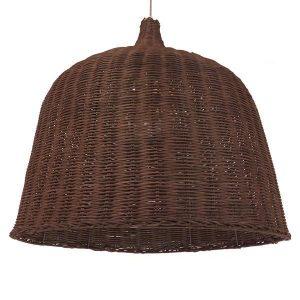 ARGENTO 01369 Vintage Κρεμαστό Φωτιστικό Ξύλινο Ψάθινο Ραταν Καφέ Καμπάνα Ø60