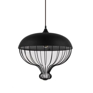 SOBRINO 01108 Industrial Μαύρο Κρεμαστό Φωτιστικό Ρόδι με Πλέγμα Ø46