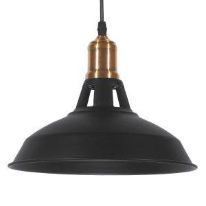 ANER BLACK 01073 Industrial Μαύρο Κρεμαστό Φωτιστικό Καμπάνα Ø28