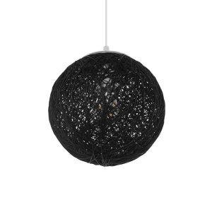 ECOS 01356 Vintage Κρεμαστό Φωτιστικό Ξύλινο Ψάθινο Ραταν Μαύρο Ø20