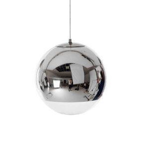 MIRAGE 01311 Μοντέρνο Χρωμέ Σφαιρικό Γυάλινο Φωτιστικό Κρεμαστό Ø15